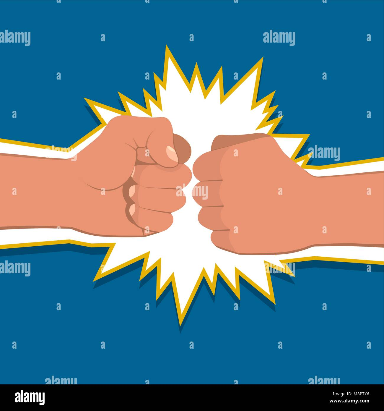 Two clenched fists in air punching. Vector illustration with two hands. Concept of aggression and violence. War - Stock Vector