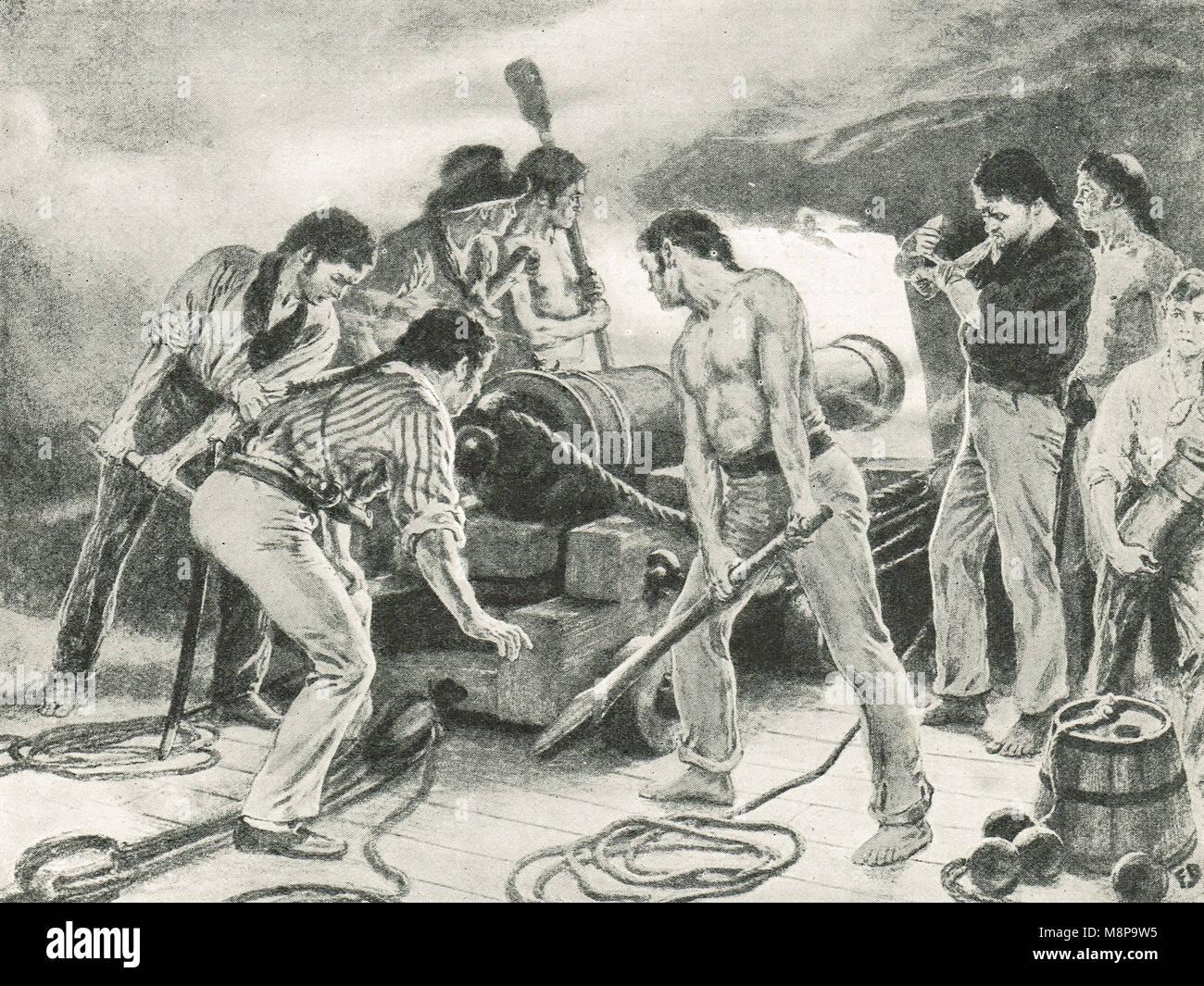 English Gunners in action, Battle of Trafalgar, 21 October, 1805 - Stock Image