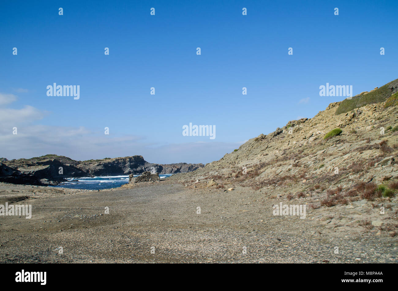 Landscape photography of one of the best known places in Menorca on the coast with a lighthouse. - Stock Image