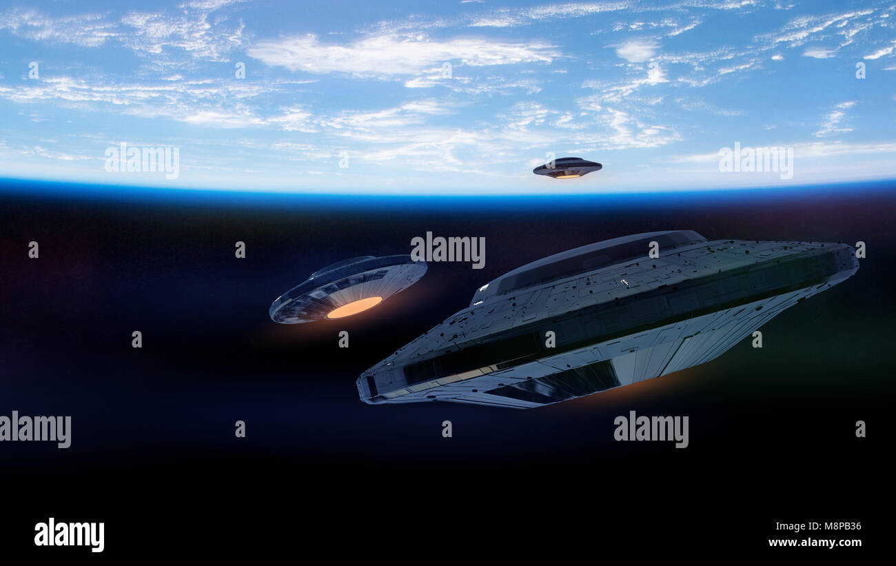 UFOs, alien spaceships approaching planet Earth, outer space visitors in flying saucers (3d science fiction illustration, - Stock Image