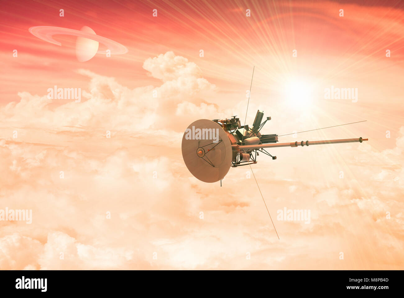 3D rendering of an unmanned spacecraft entering the atmosphere of a distant planet - Stock Image