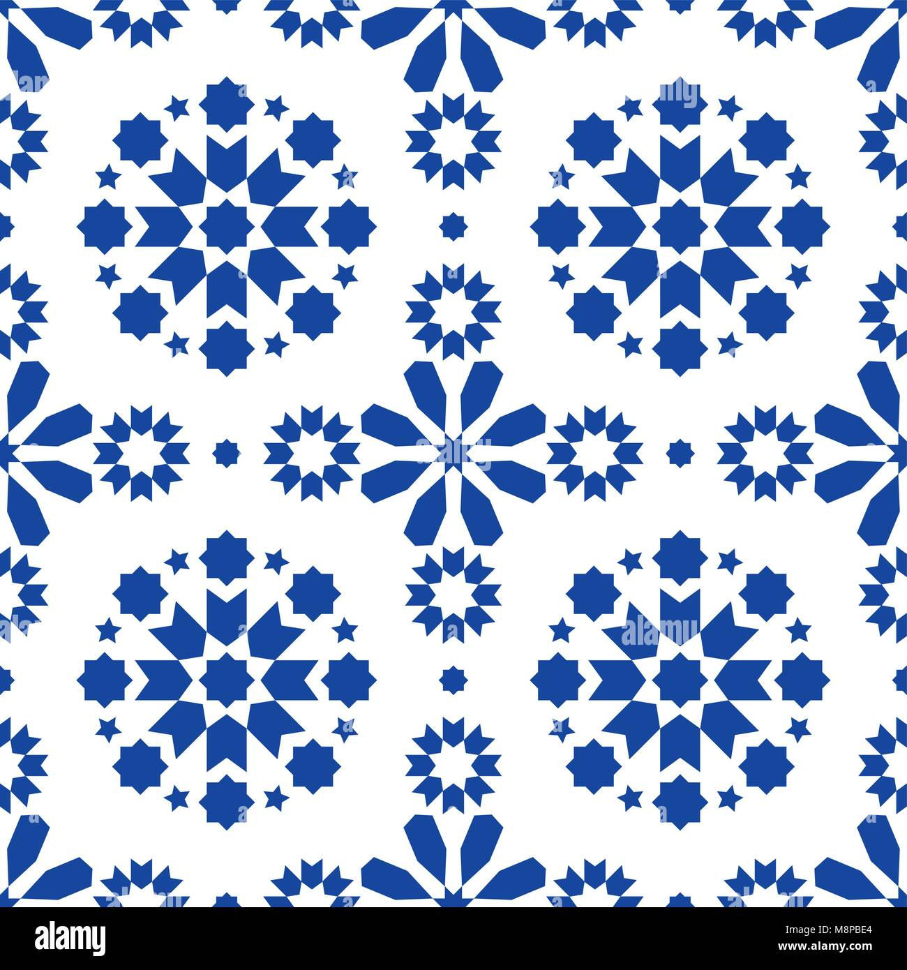 Geometric seamless pattern Azulejos tiles, Portuguese blue tile design, seamless abstract background - Stock Vector