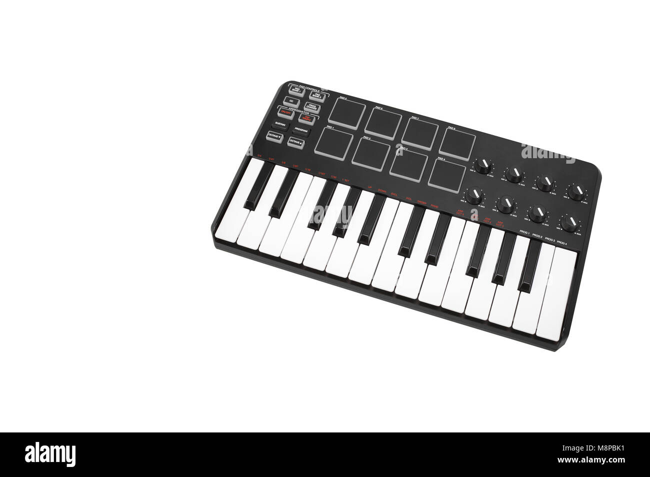 Musical instrument - Sloseup MIDI piano keyboard. It is isolated on a white background - Stock Image