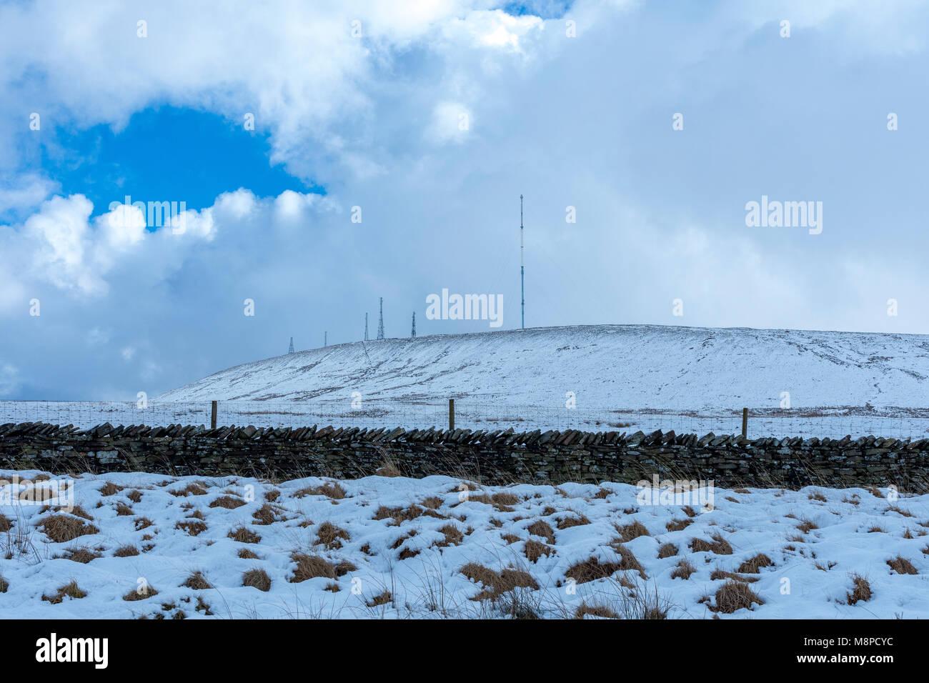 The bleak scene looking towards Winter Hill TV mast Bolton Lancashire UK Stock Photo