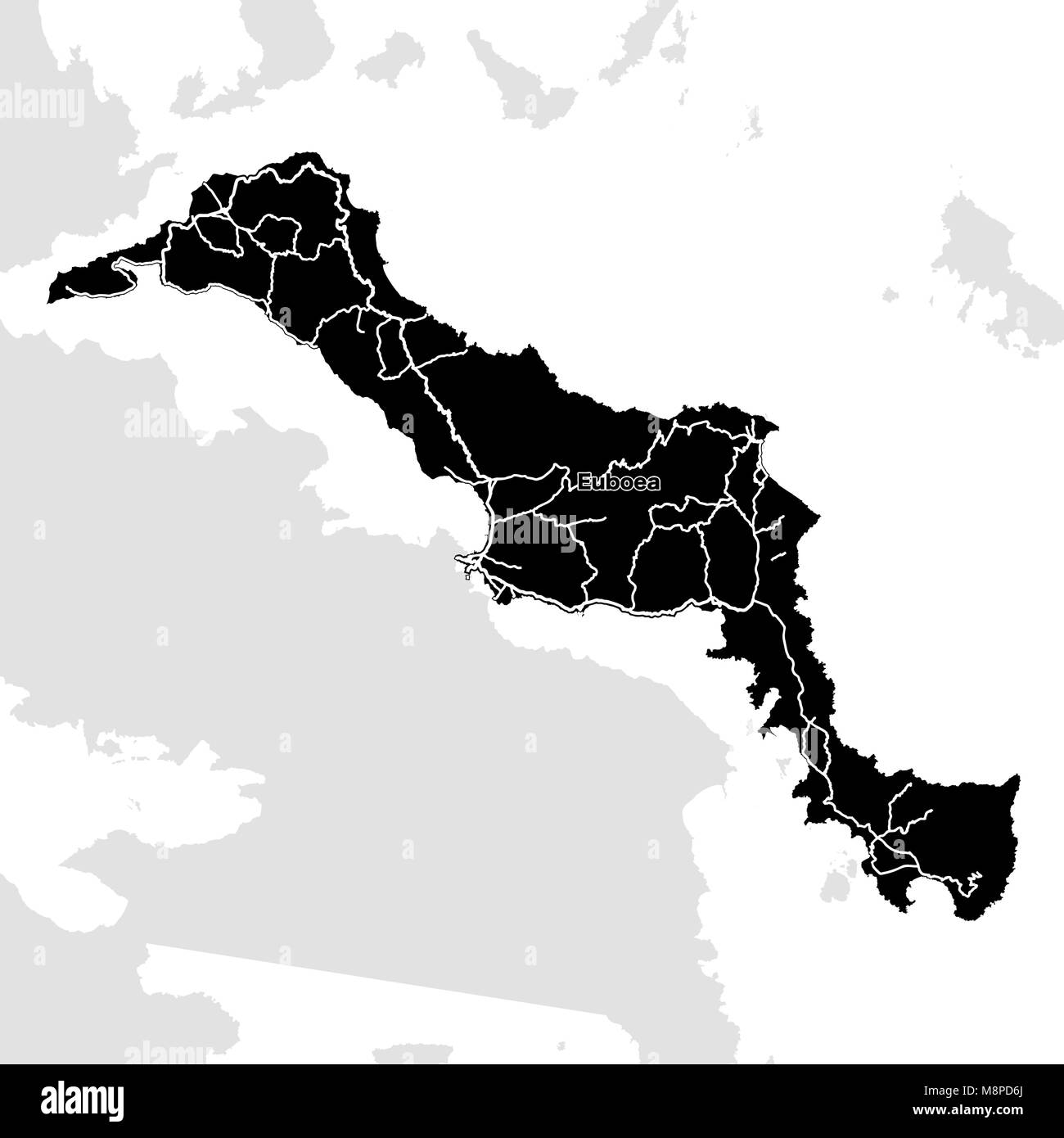 Euboea Island, Greece, Vector Map. Main White Highways on ...