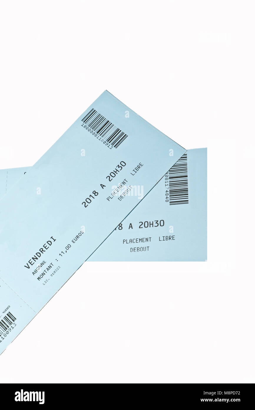 Concert ,Theater tickets on white background - Stock Image