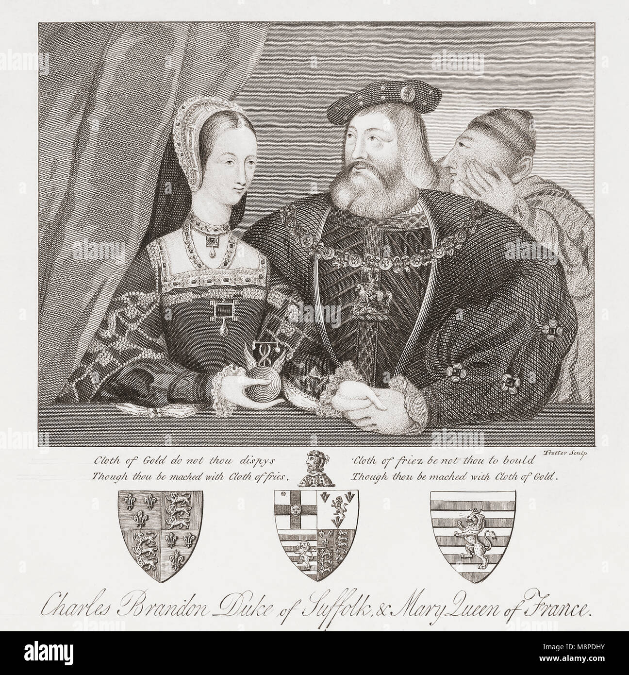 Mary Tudor and Charles Brandon.  Mary Tudor, 1496-1533, Queen of France and Duchess of Suffolk.   Charles Brandon, - Stock Image