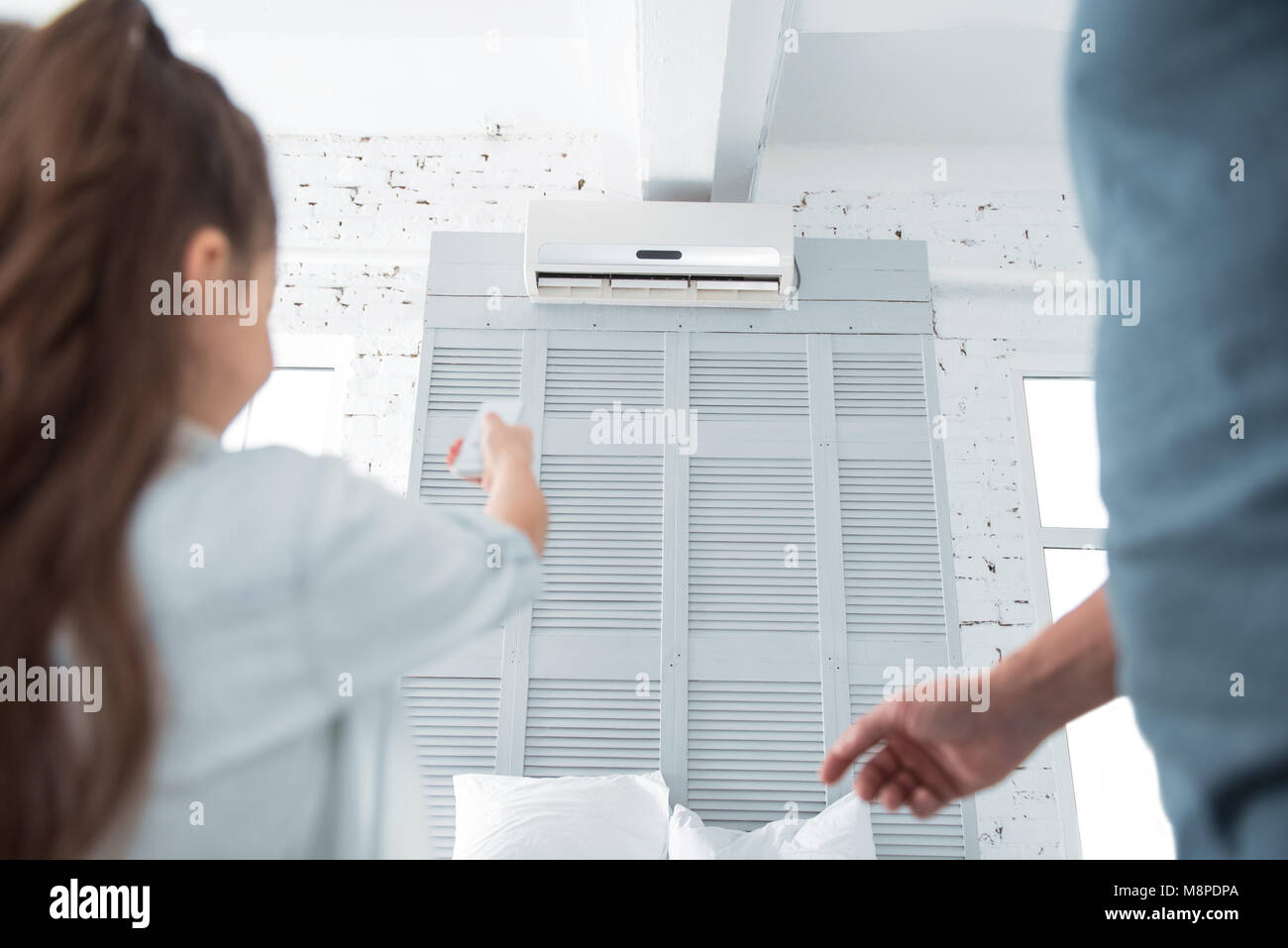 Close up of air conditioner - Stock Image