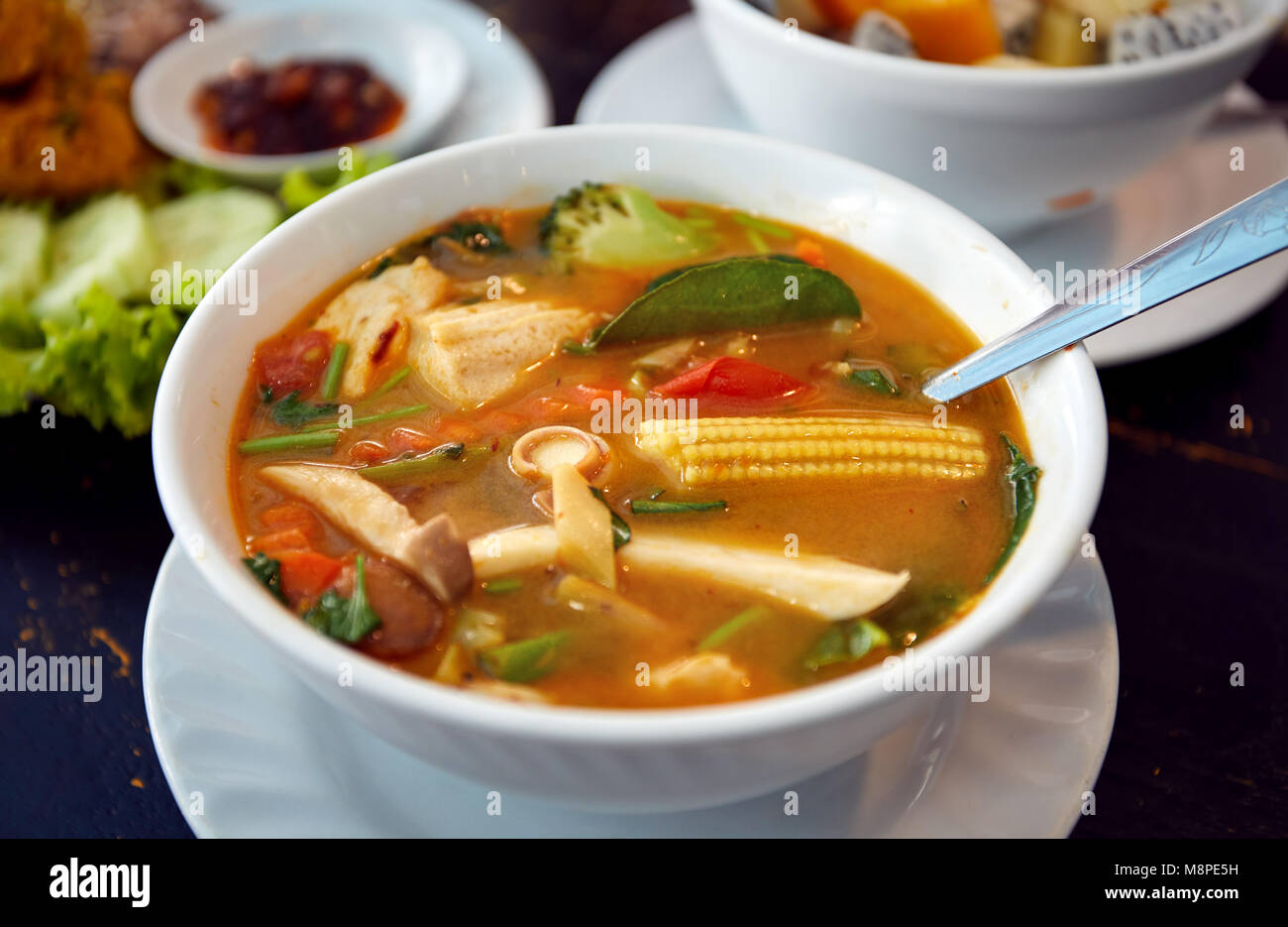 Thai Traditional Sour Soup Tom Yam In Vegetarian Variation