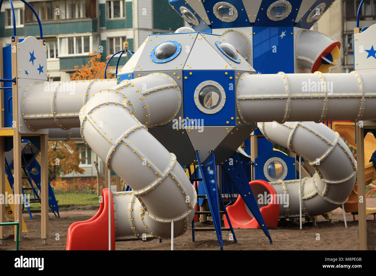 The gaming  spaceport   in the playground - Stock Image