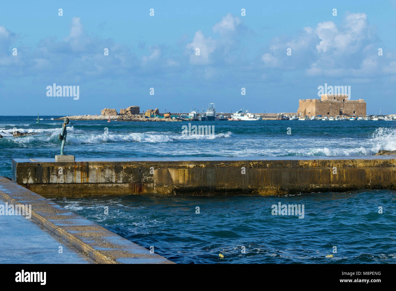 Paphos harbour on the mediterranean coast of Cyprus, Mediterranean - Stock Image