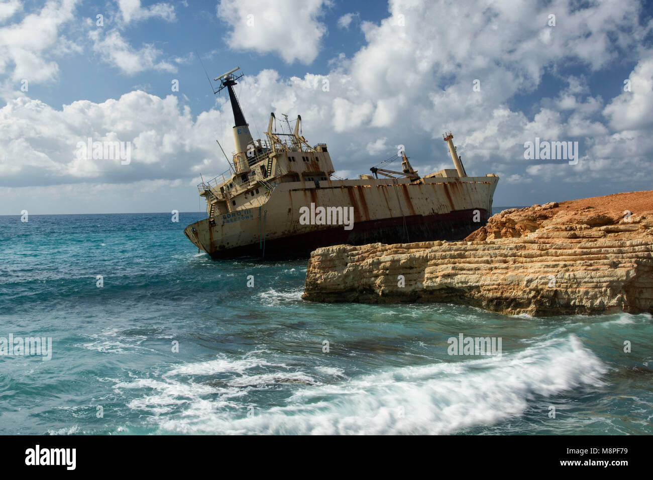 EDRO III resting off the rocks near the Sea Caves northwest of paphos, Cyprus, Mediterranean - Stock Image