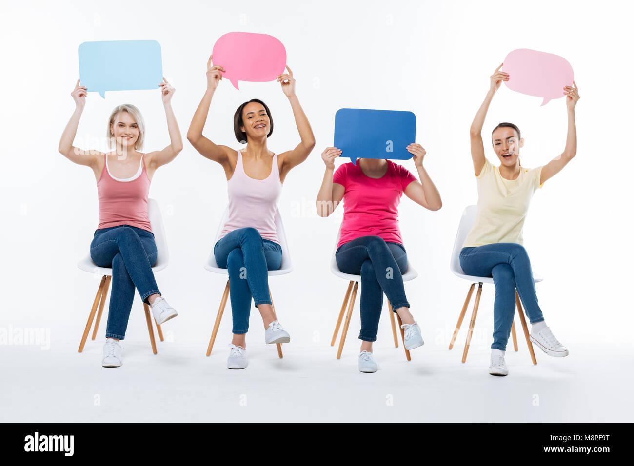 Cheerful young women having fun - Stock Image