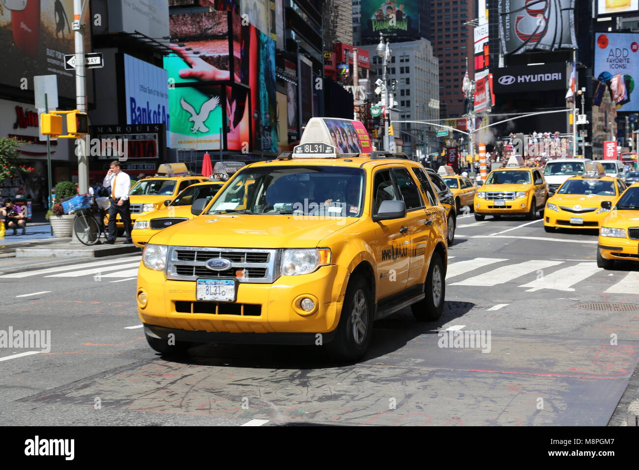 Yellow Taxi cars in Times Square. NYC, New York - Stock Image