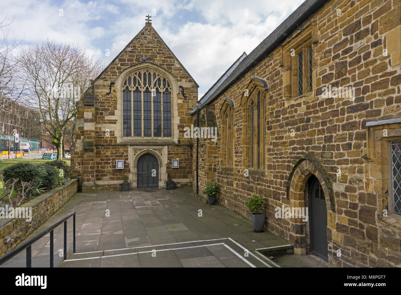 The 12th century former church of St John's, the oldest secular building in Northampton, UK; now a fine dining - Stock Image