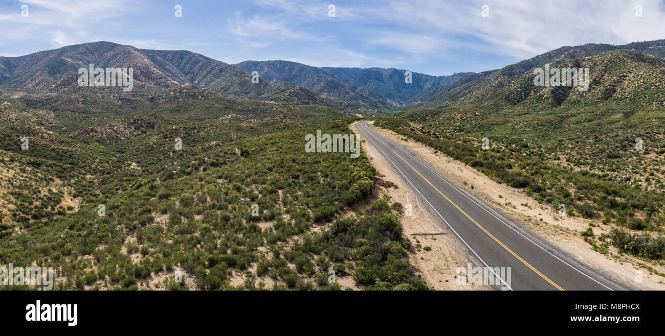 Panorama drone photograph of Mojave desert wilderness in the foothills of the San Gabriel Mountains. - Stock Image