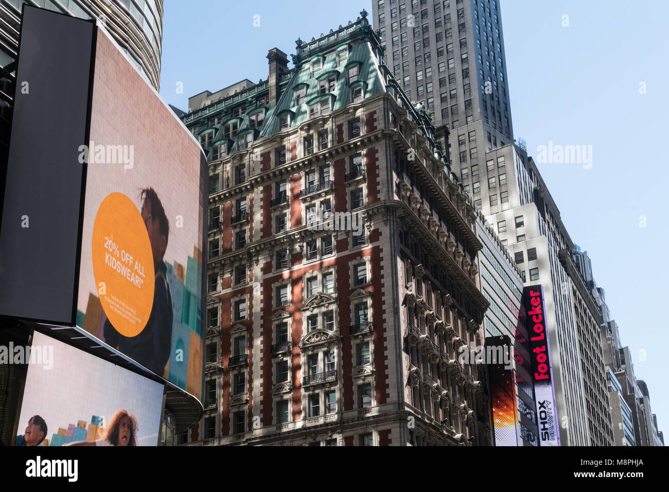 Contrasting Architecture in Times Square, NYC, USA Stock Photo
