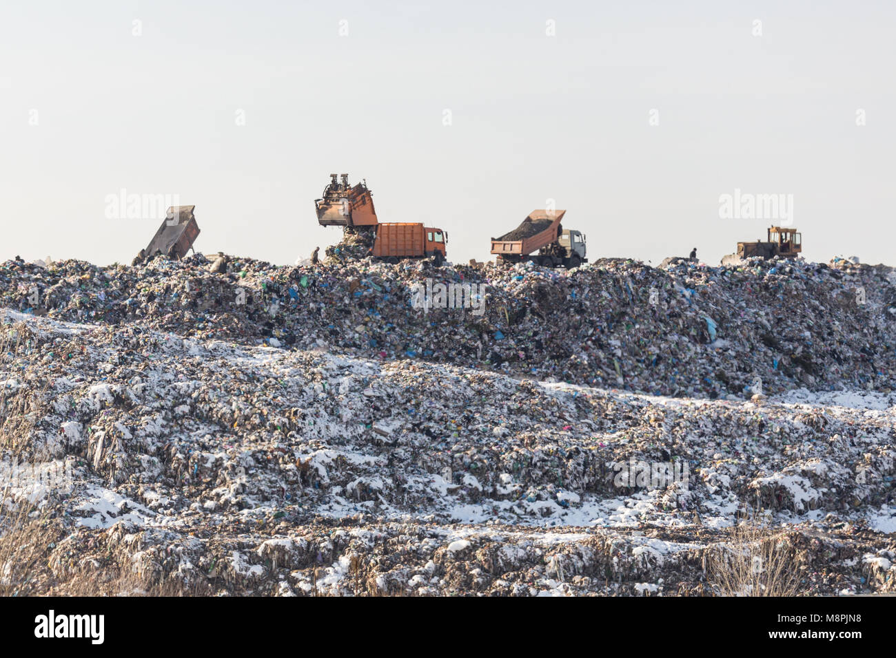 Dump trucks unloading garbage over vast landfill.  Environmental pollution. Outdated method of wasate disposal. - Stock Image