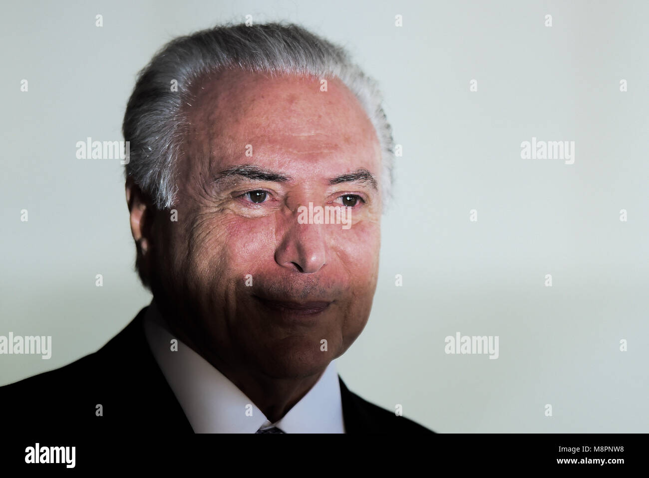 President of Brazil Michel Temer during the opening ceremony of the 8th World Water Forum at Itamaraty Palace in - Stock Image