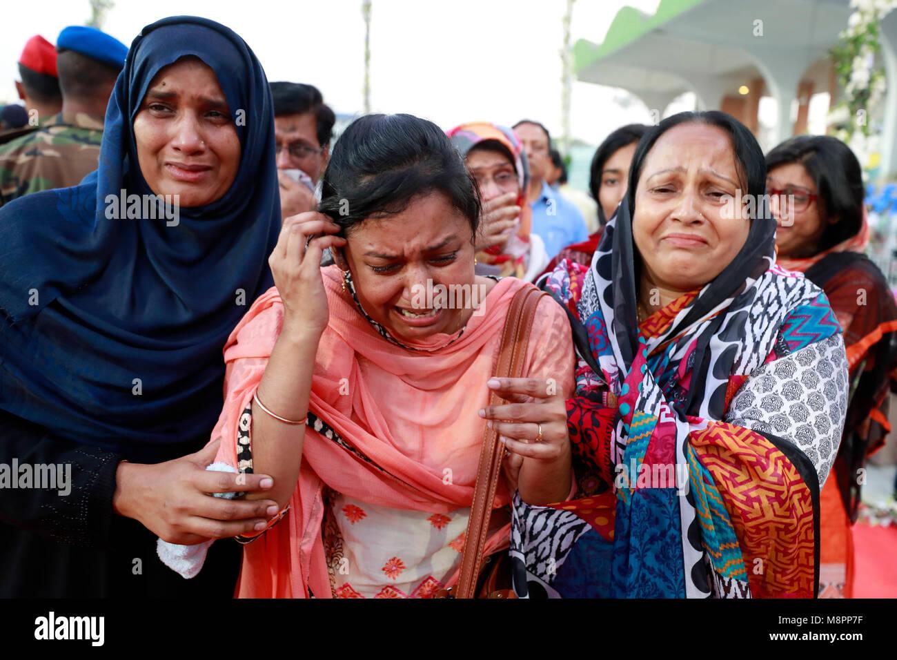 Dhaka, Bangladesh. 19th March, 2018.  Grief-stricken relatives of the US-Bangla plane crash victims at the Bangladesh - Stock Image