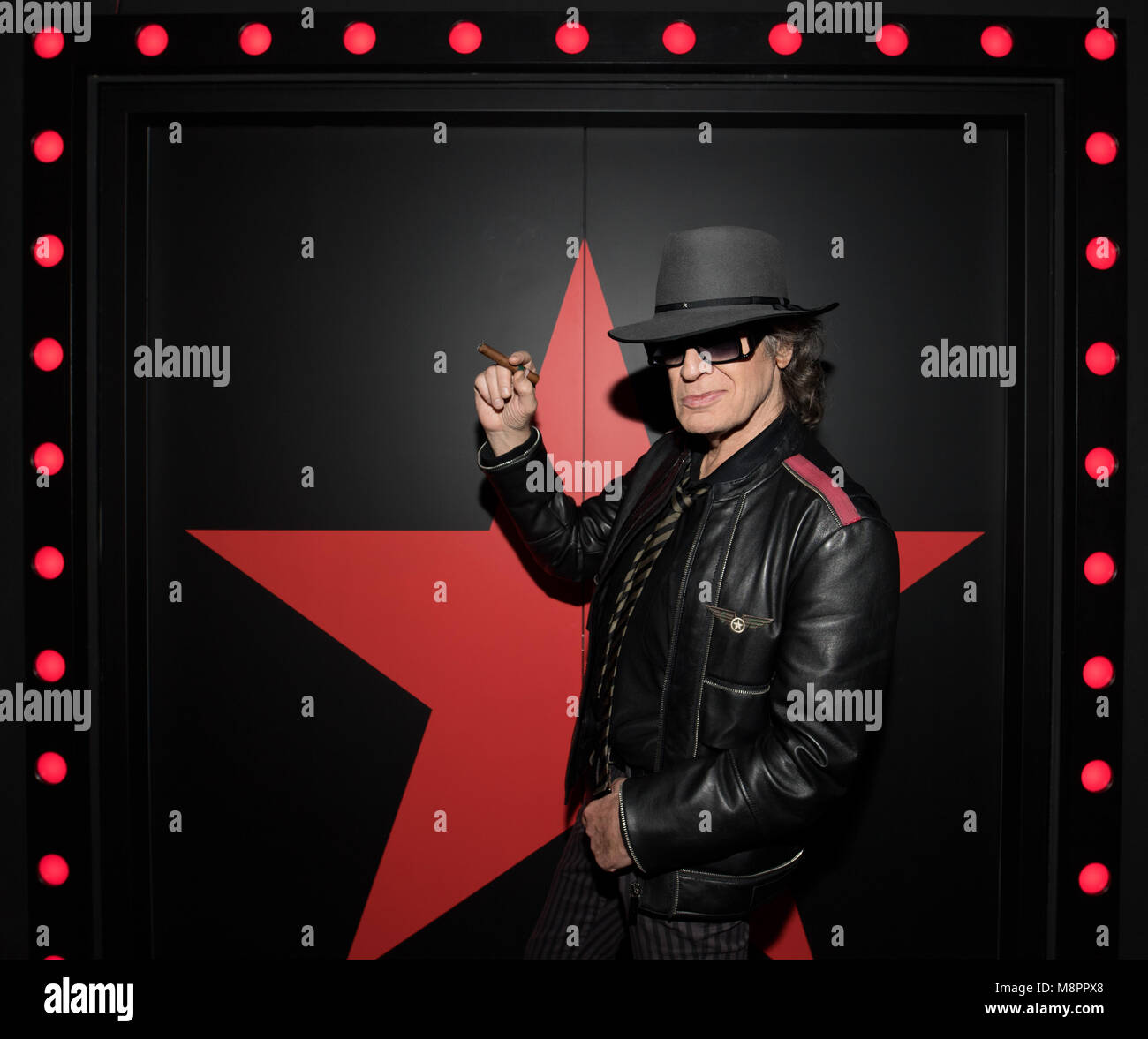 13 March 2018, Berlin, Germany: Rockstar Udo Lindenberg photographed in 'Panik City', the multimedia adventure 'The Stock Photo