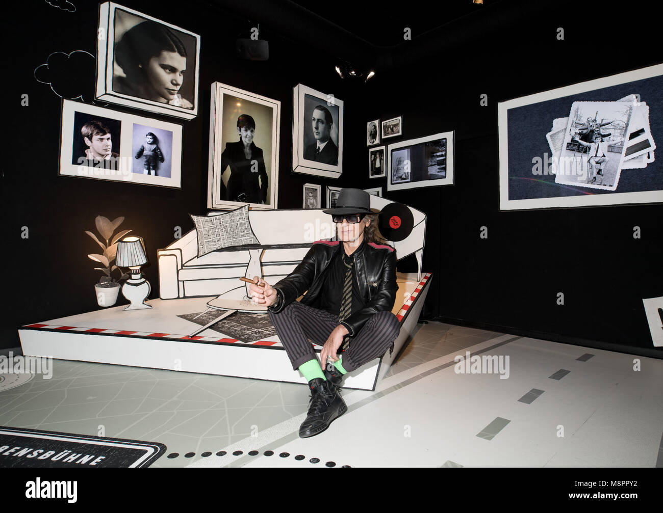 13 March 2018, Berlin, Germany: Rockstar Udo Lindenberg photographed on a stylised bed in 'Panik City', - Stock Image