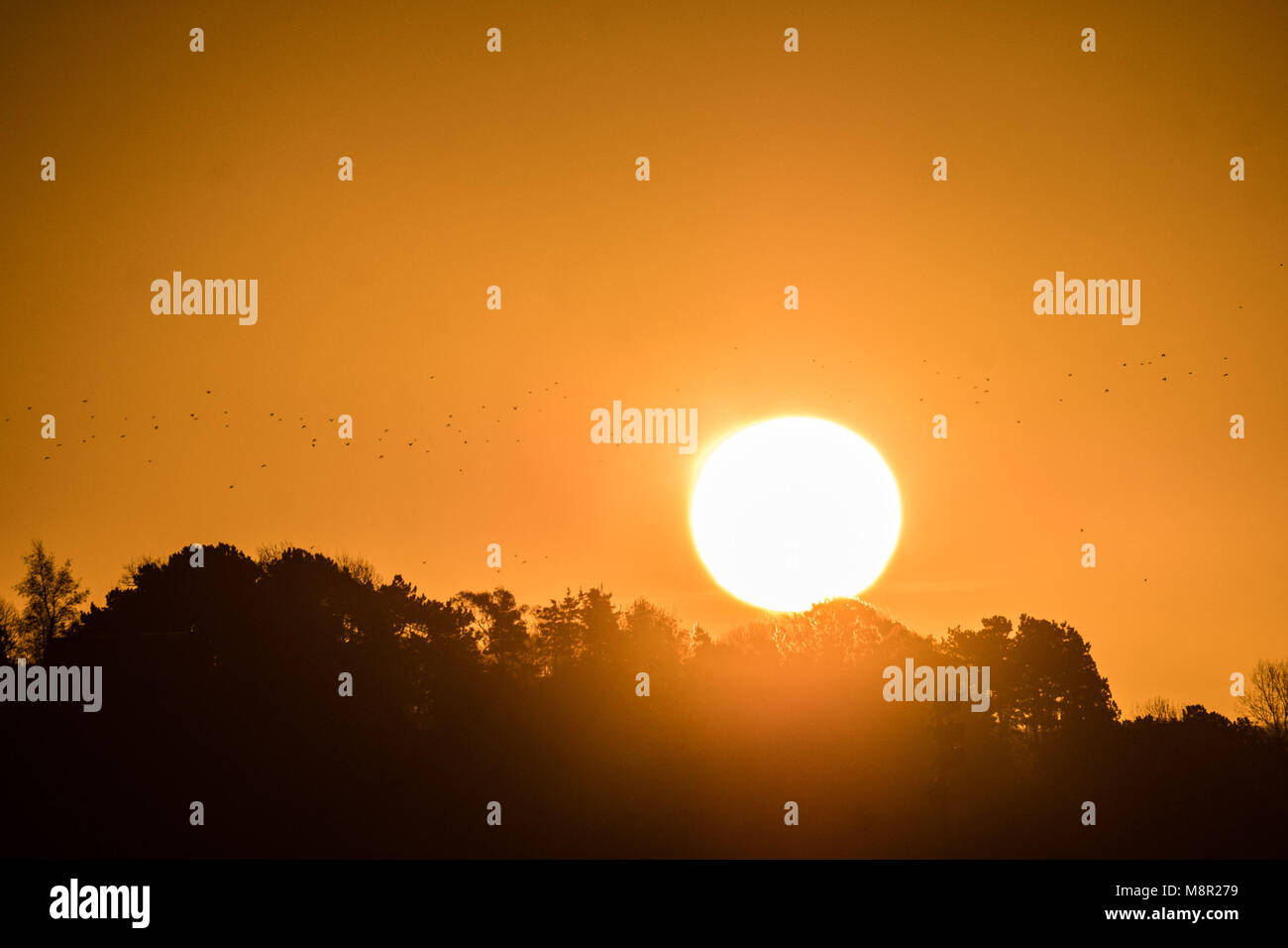 Aberystwyth Wales UK, Tuesday 20 March 2018 UK Weather: The sun rises gloriously on Spring Equinox morning in Aberystwyth - Stock Image