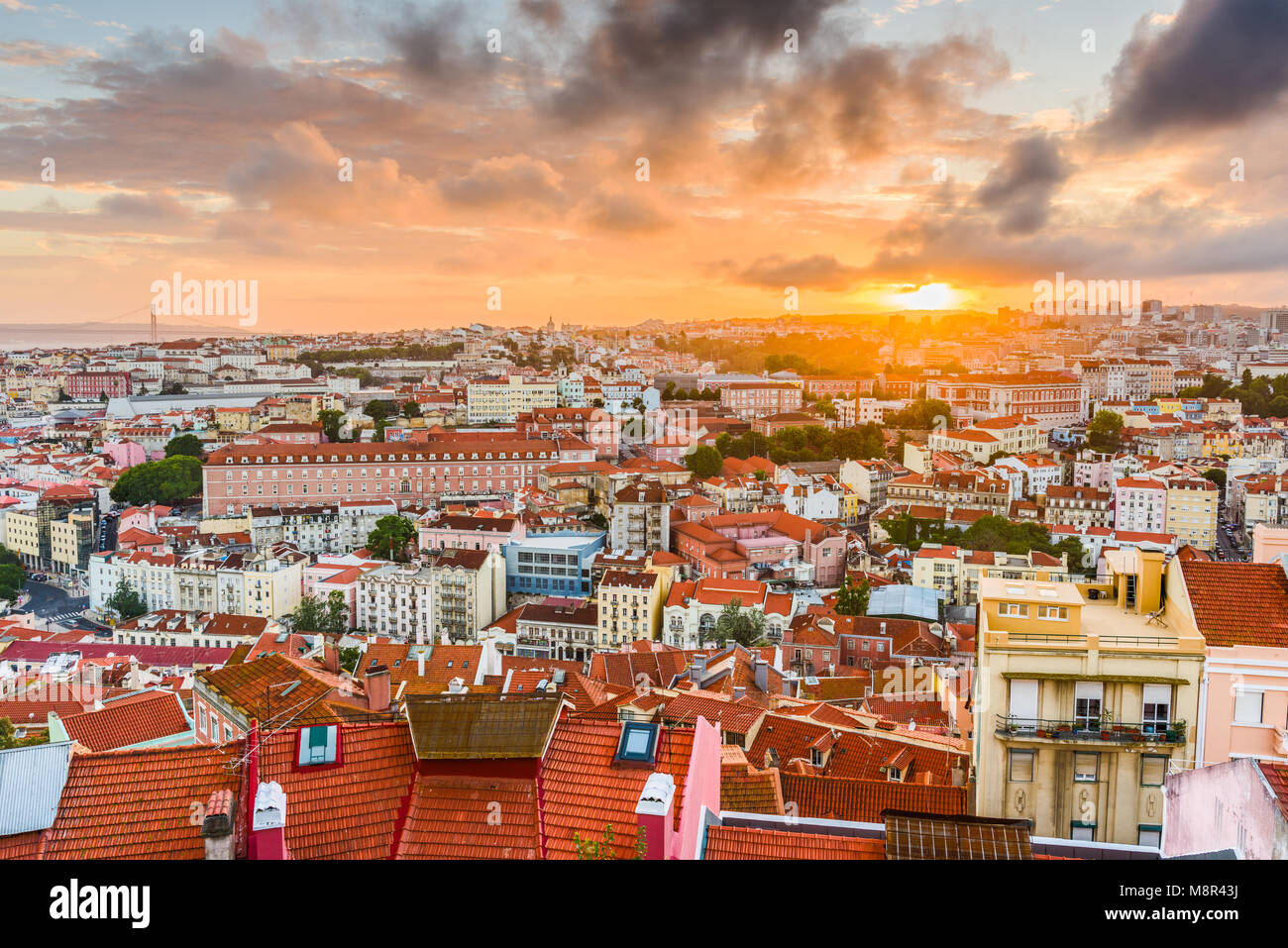 Lisbon, Portugal old town skyline. - Stock Image
