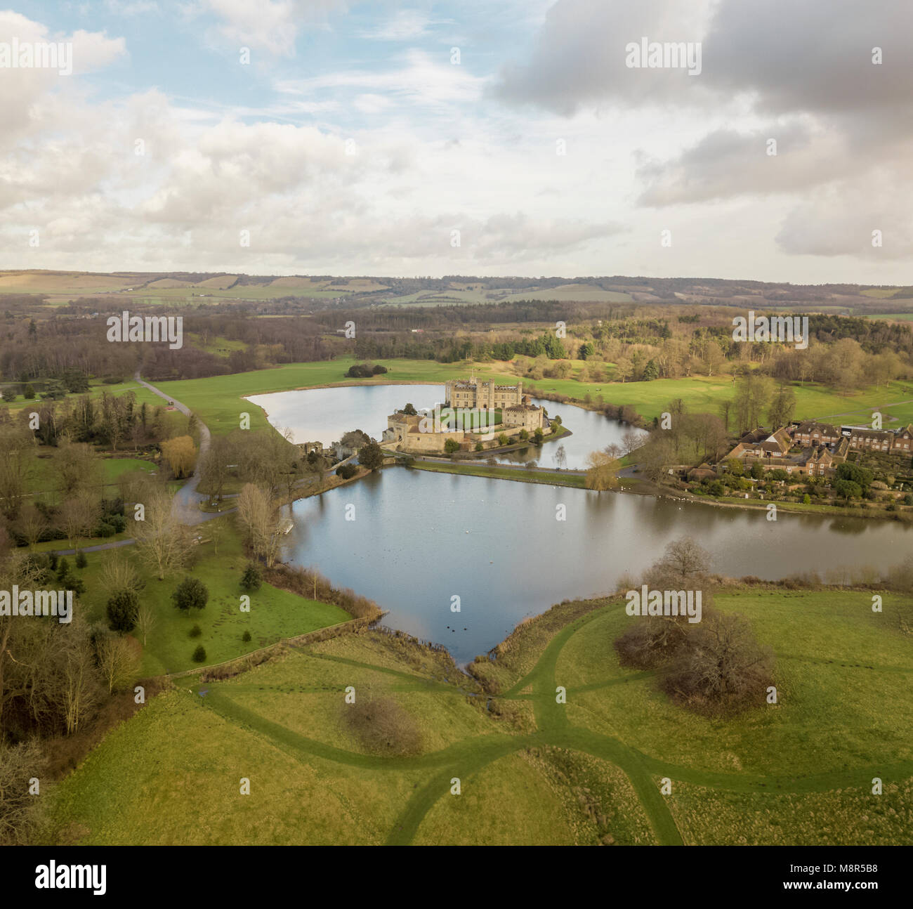 Aerial view of Leeds Castle, in the Weald of Kent, UK Stock Photo