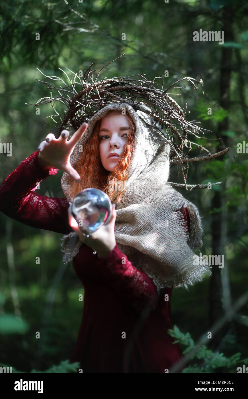 Fortune-teller conducts a ritual - Stock Image