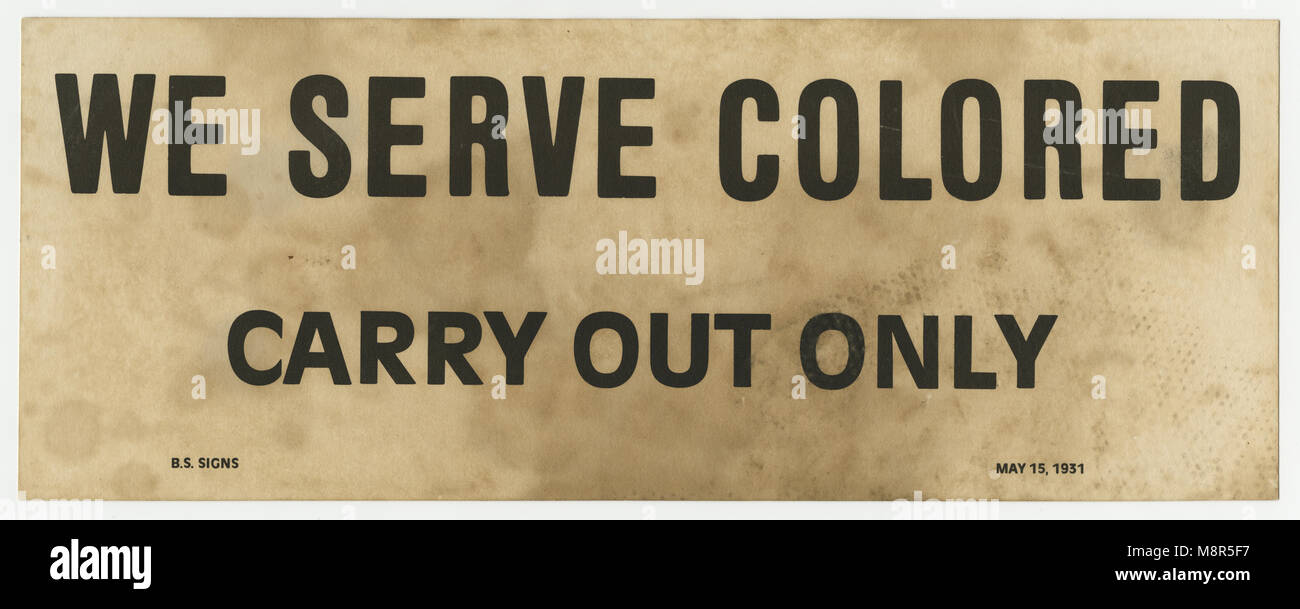 We Serve Colored Sign, 1931 - Stock Image