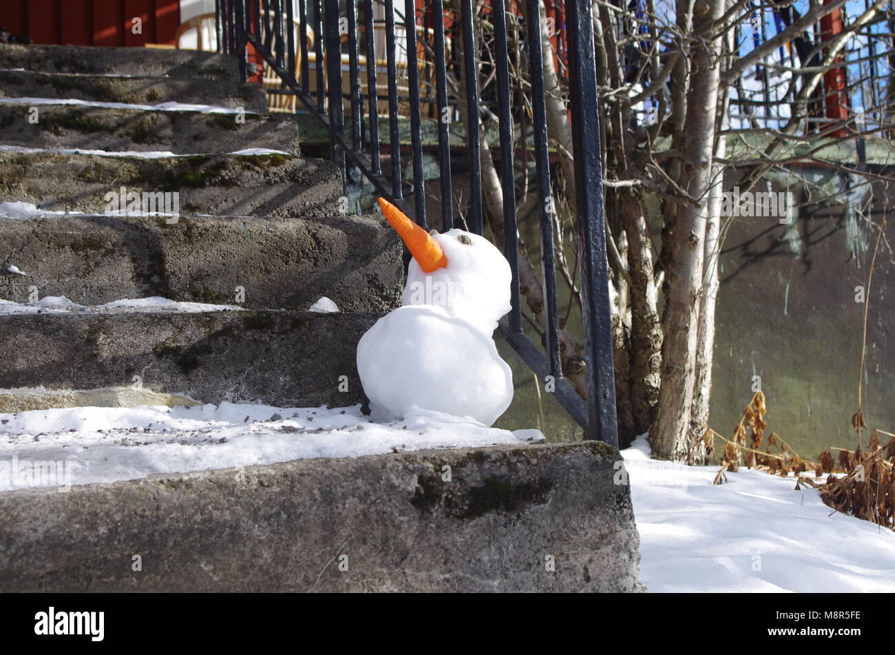 A little snowman made by my sibblings in the early Swedish easter. - Stock Image