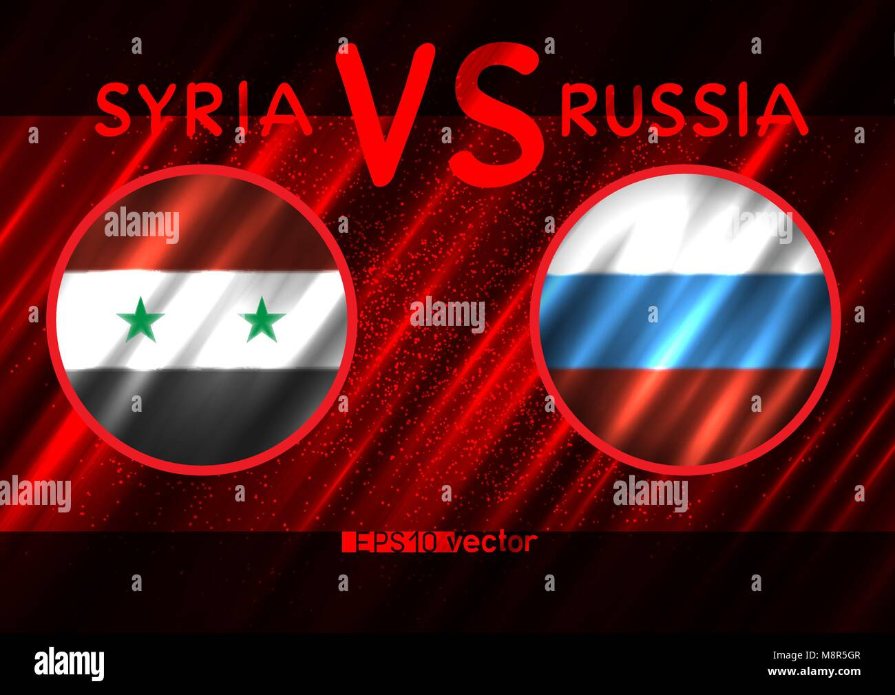 Syria VS Russia round flags on dark red background. Blood war illustration - Stock Vector
