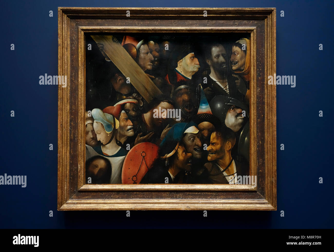 Christ Carrying the Cross, early 16th century Northern Renaissance oil on panel painting by Dutch painter Hieronymus - Stock Image