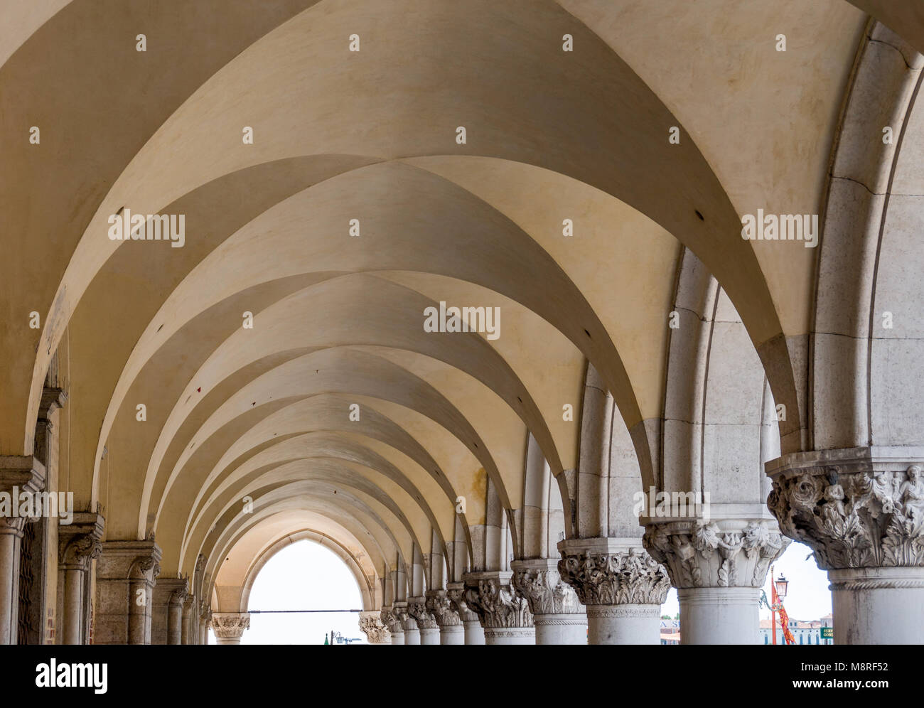 Arches and Pillars of the Doge's Palace (San Marco Square, Venice, Italy) - Stock Image