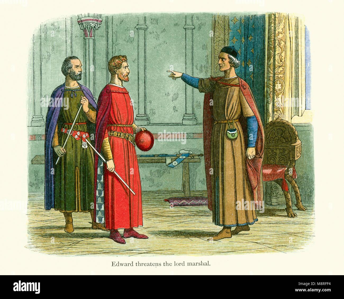 King Edward I threatening the Lord Marshal Roger Bigod Earl of Norfolk. Bigod had drawn up a series of complaints, - Stock Image