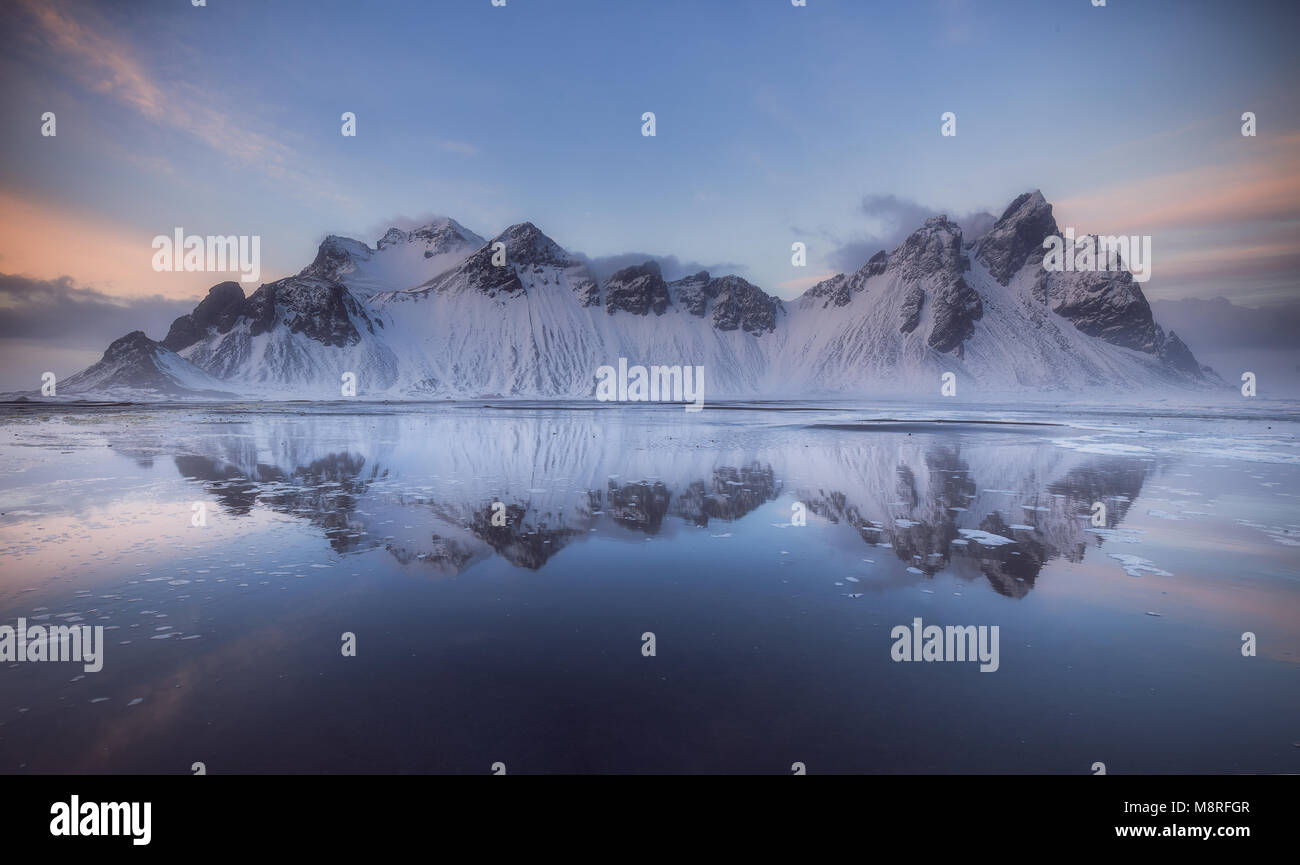 Vestrahorn mountains at Stokksnes beach in Iceland Stock Photo