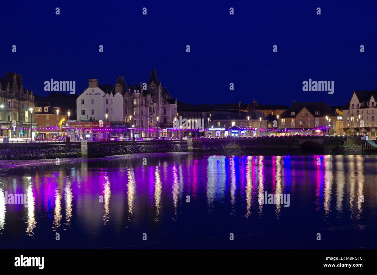 Night view of Oban bay, Scotland Stock Photo
