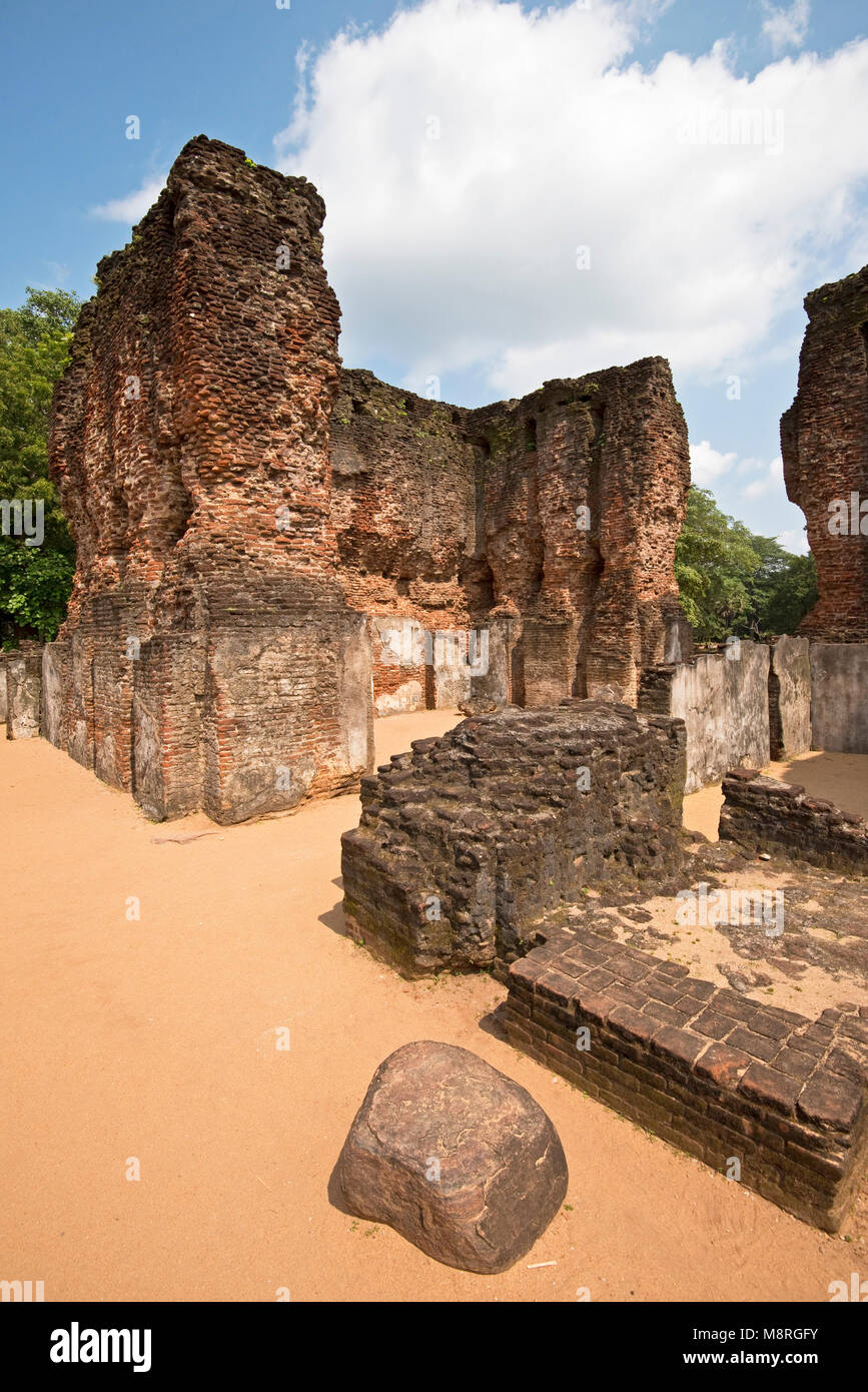 The council chamber of the Royal Palace at Polonnaruwa in Sri Lanka on a sunny day with blue sky. - Stock Image