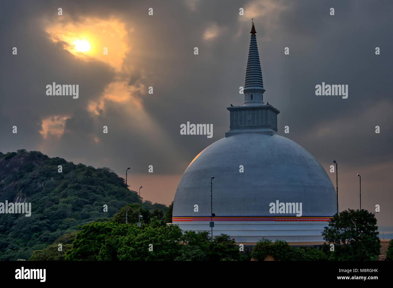 An HDR imgae of the Maha Stupa aka Maha Seya on top of Mihintale Hill in Sri Lanka Stock Photo