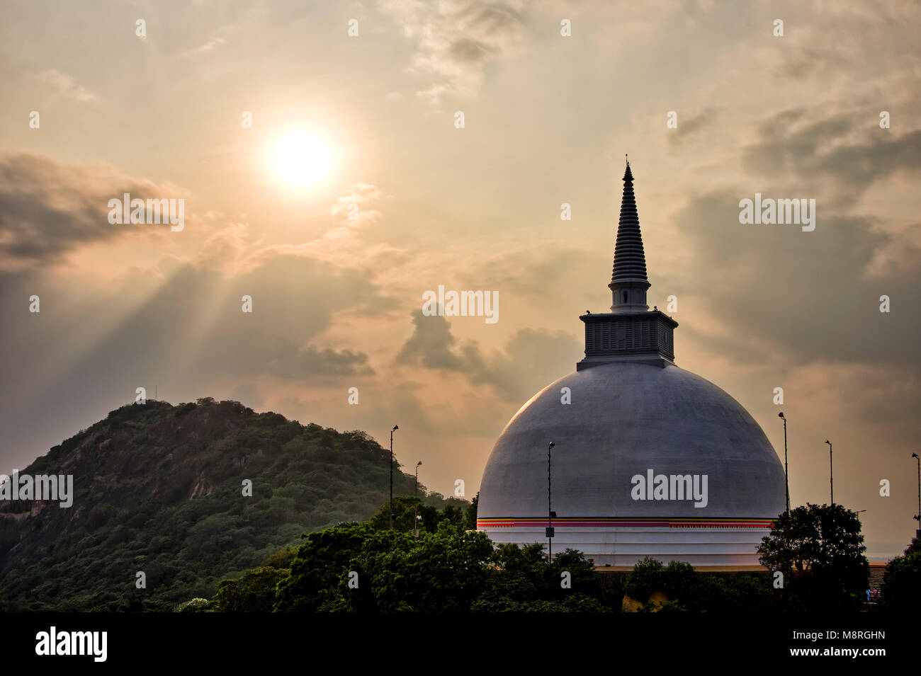 An HDR imgae of the Maha Stupa aka Maha Seya on top of Mihintale Hill in Sri Lanka Stock Photo