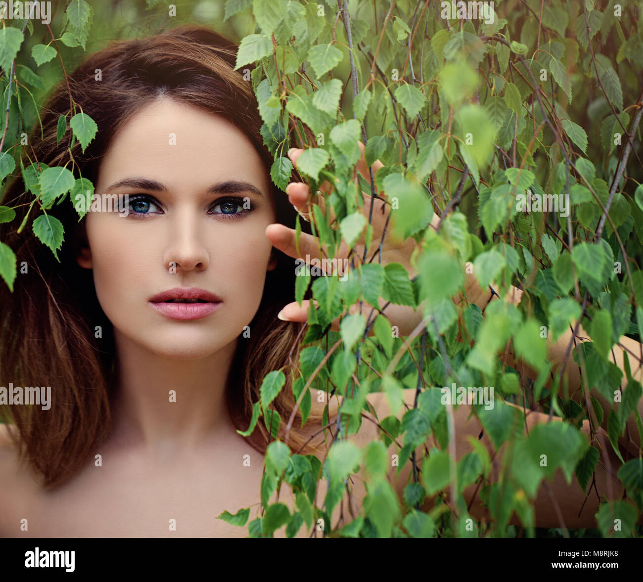 Beautiful Young Woman with Green Birch Leaves. Cute Model after Bath ...