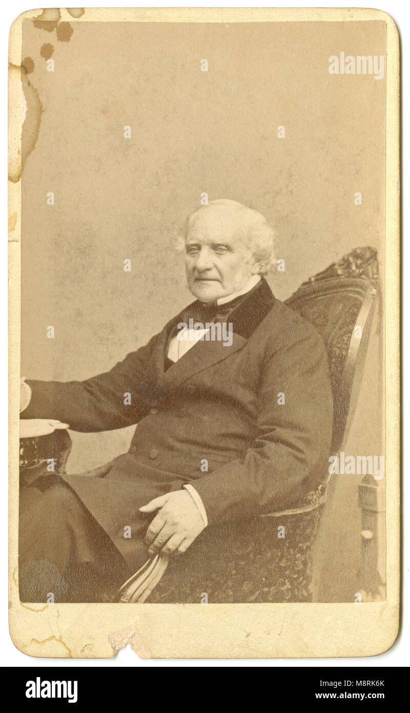 Antique C1860 Carte De Visite George Peabody 1795 1869 Was An American Financier And Philanthropist He Is Widely Regarded As The Father Of Modern