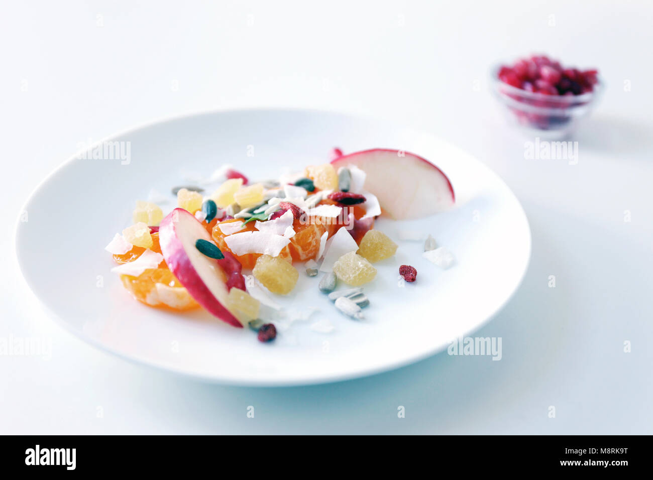 High angle view of food served in plate over white background - Stock Image