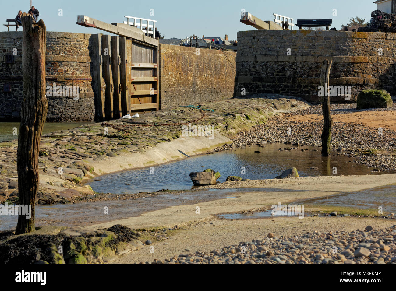 Bude Harbour, Cornwall, UK - the lock gates of Bude canal - Stock Image