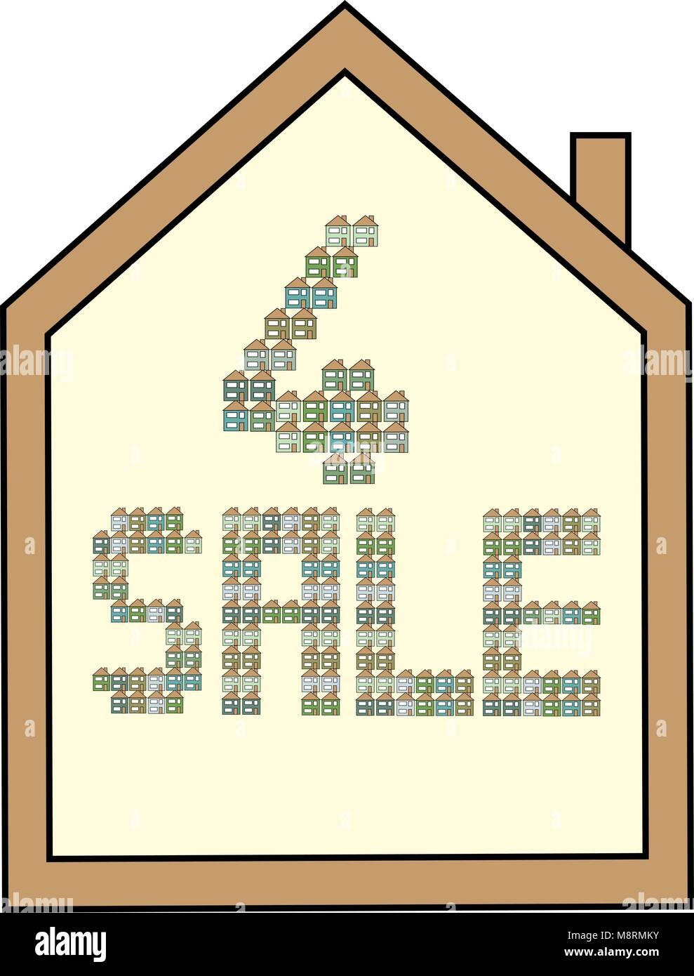 House shaped white for sale board with brown edging and letters made from green, blue and aqua mini houses. - Stock Vector