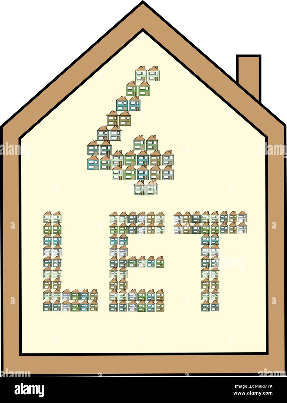 House shaped white for let board with brown edging and letters made from green, blue and aqua mini houses. - Stock Vector