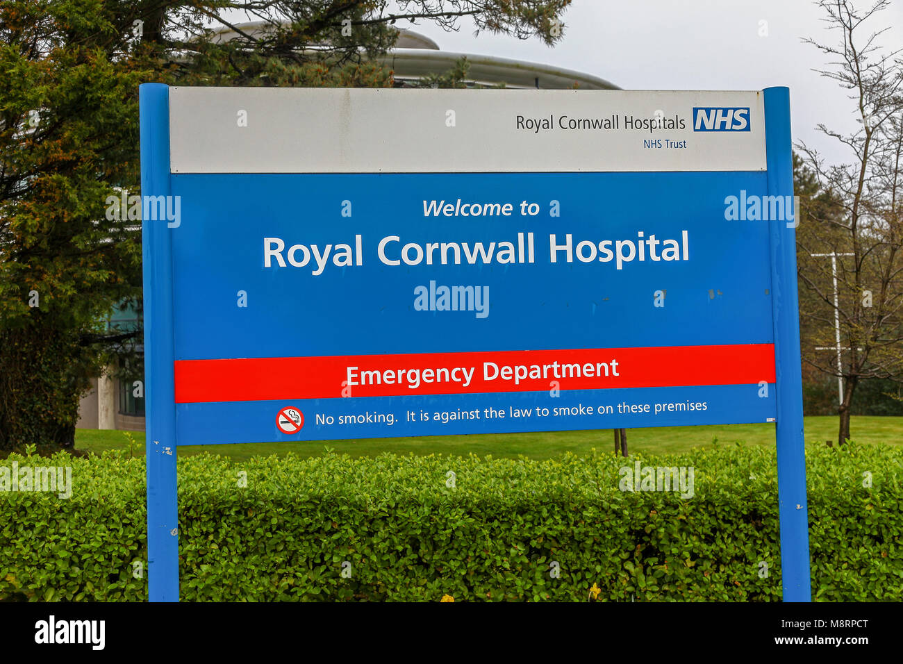 A sign for The Royal Cornwall Hospital, also known as Treliske Hospital,  a medium-sized teaching hospital in Treliske, - Stock Image
