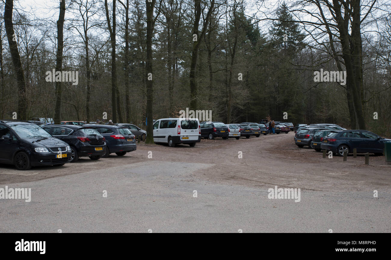 cars parked at car parking event - Stock Image
