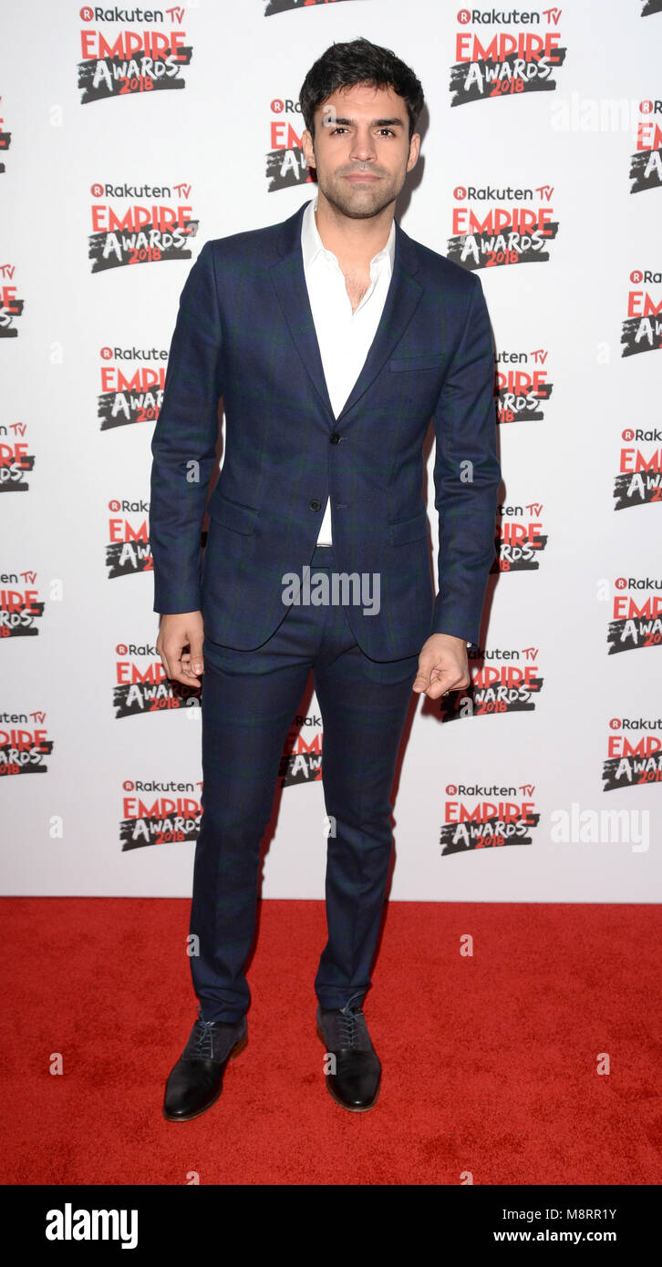 Photo Must Be Credited ©Alpha Press 078237 18/03/2018 Sean Teale at the Rakuten TV Empire Awards 2018 held - Stock Image
